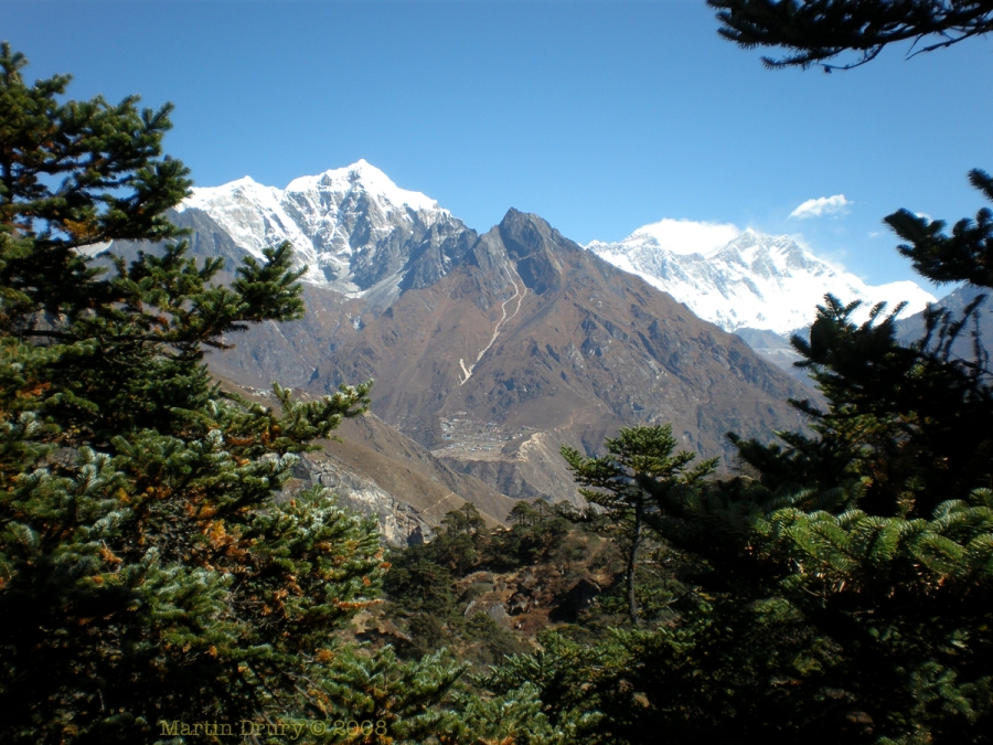 Mt Everest to the right.